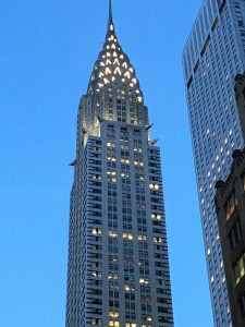 The Chrysler Building at dusk. I looked up and here was a symbol of what drives people.