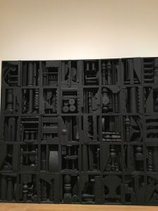 A Louise Nevelson found object sculpture at MoMA in New York.