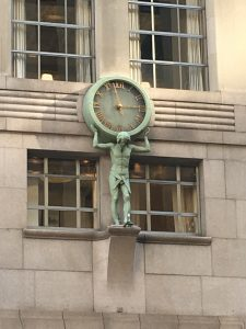 The clock on the Tiffany & Co building on 5th Avenue in New York City.