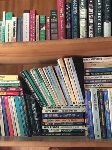 A tiny sample of the mystery books in Mom's home. Shelves and shelves an shelves...