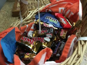 My basket of Halloween candies.