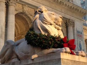 One of the famous NYC lions outside the 42nd Street branch of the Public Library.