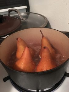 Poaching pears in leftover prosecco.