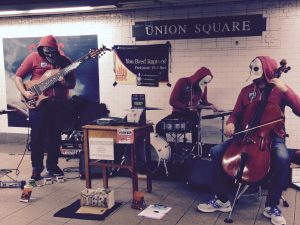 Musicians of all kinds play at designated spots in large subway stations.
